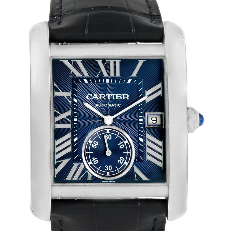 Cartier Tank MC Blue Dial Automatic Mens Watch WSTA0010 Box Papers SwissWatchExpo