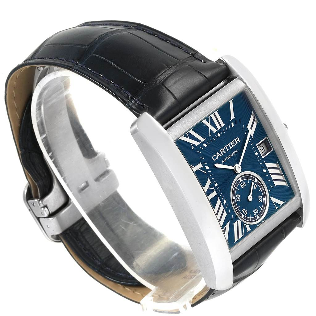 20981 Cartier Tank MC Blue Dial Automatic Mens Watch WSTA0010 Box Papers SwissWatchExpo