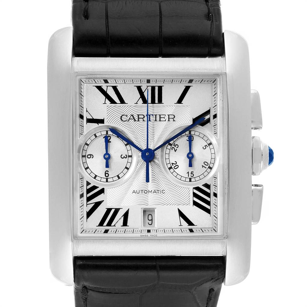 Cartier Tank MC Silver Dial Automatic Chronograph Mens Watch W5330007 Box