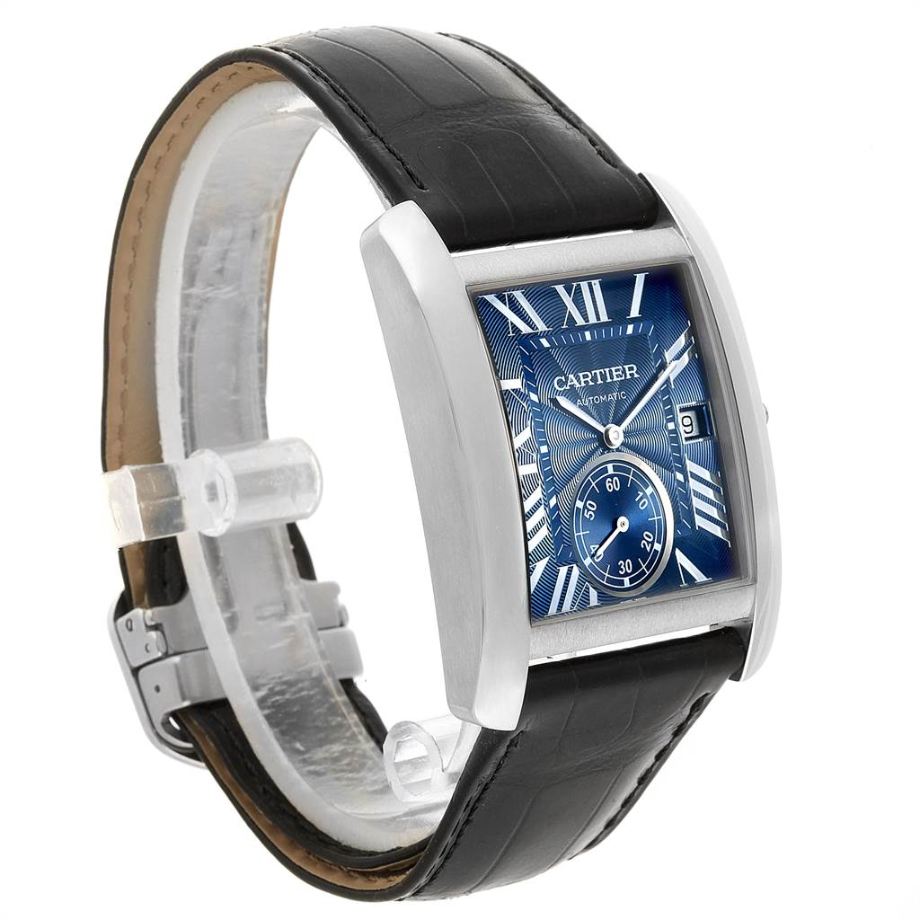 22274 Cartier Tank MC Blue Dial Automatic Steel Mens Watch WSTA0010 SwissWatchExpo