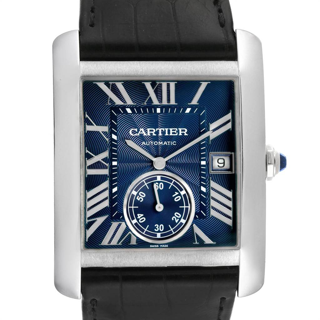 Cartier Tank MC Blue Dial Automatic Steel Mens Watch WSTA0010 SwissWatchExpo