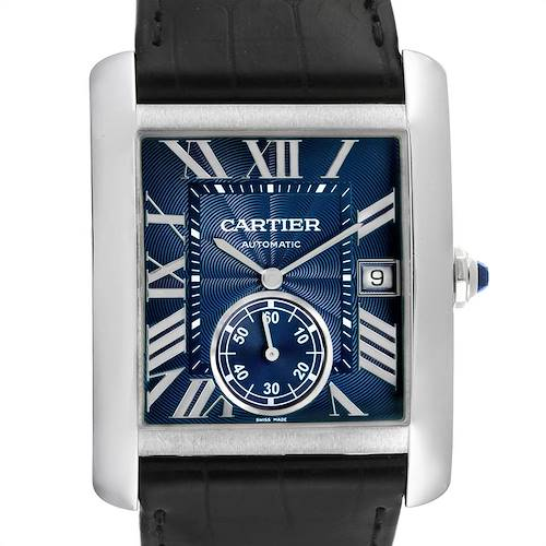Photo of Cartier Tank MC Blue Dial Automatic Steel Mens Watch WSTA0010