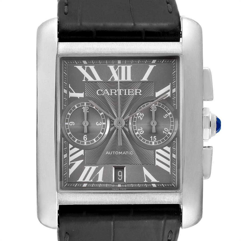Cartier Tank MC Grey Dial Chronograph Mens Watch W5330008 Box Papers SwissWatchExpo