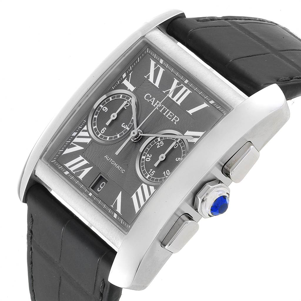 22899 Cartier Tank MC Grey Dial Chronograph Mens Watch W5330008 Box Papers SwissWatchExpo