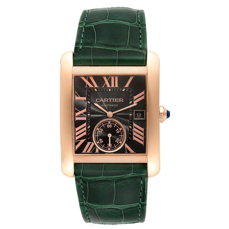 Cartier Tank MC Rose Gold Brown Dial Green Strap Mens Watch W5330002 SwissWatchExpo