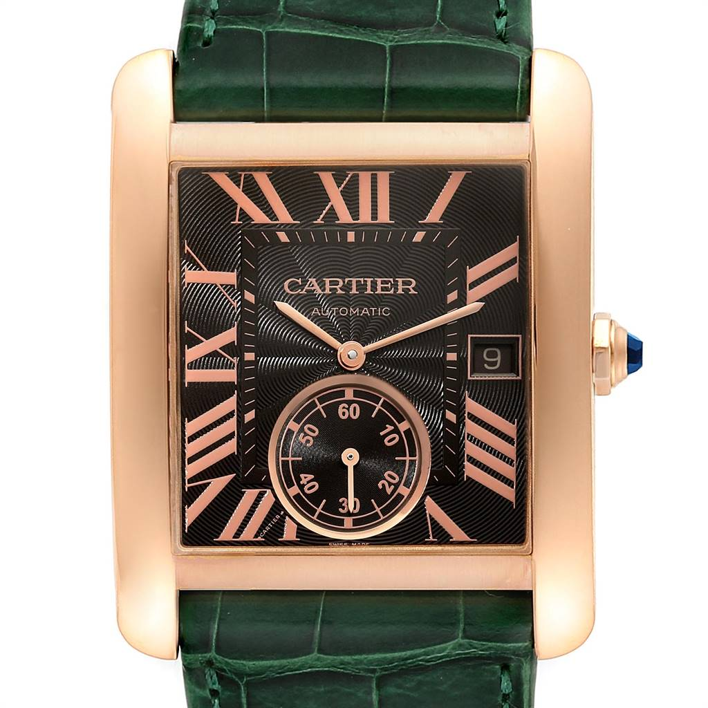 Cartier Tank MC Rose Gold Brown Dial Green Strap Mens Watch W5330002 SwissWatchExpo