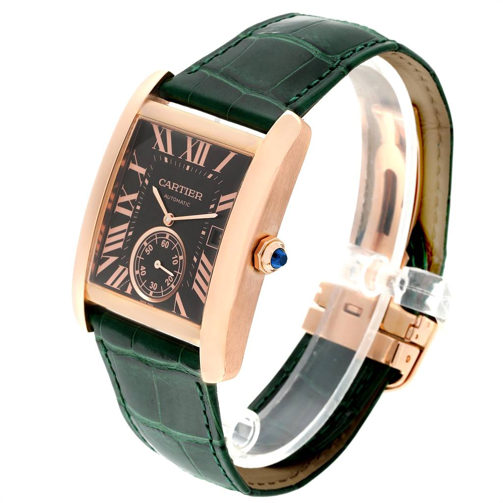 24569 Cartier Tank MC Rose Gold Brown Dial Green Strap Mens Watch W5330002 SwissWatchExpo