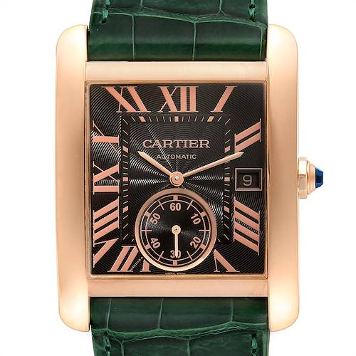 Photo of Cartier Tank MC Rose Gold Brown Dial Green Strap Mens Watch W5330002