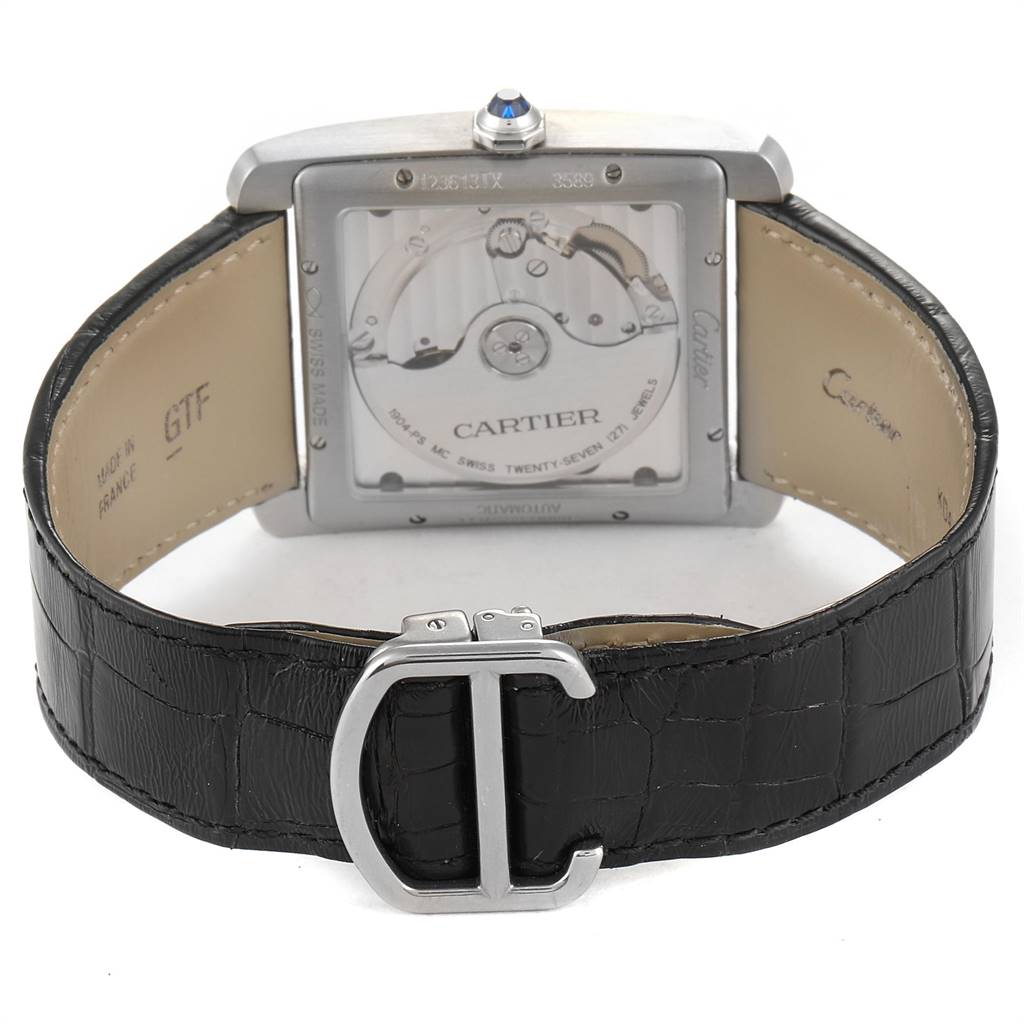 Cartier Tank MC Silver Dial Steel Mens Watch W5330003 Box Papers SwissWatchExpo