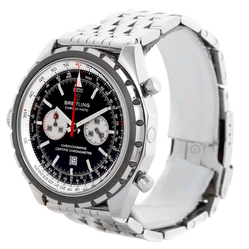 10744 Breitling Chronomatic Chronograph Left Crown Watch A41360 Box Papers SwissWatchExpo