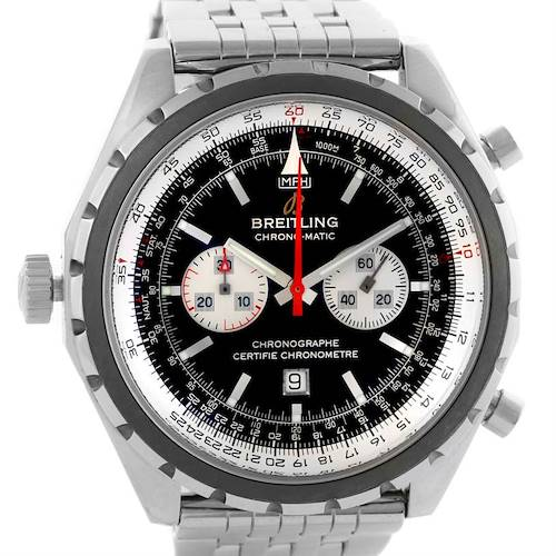 Photo of Breitling Chronomatic Chronograph Left Crown Watch A41360 Box Papers