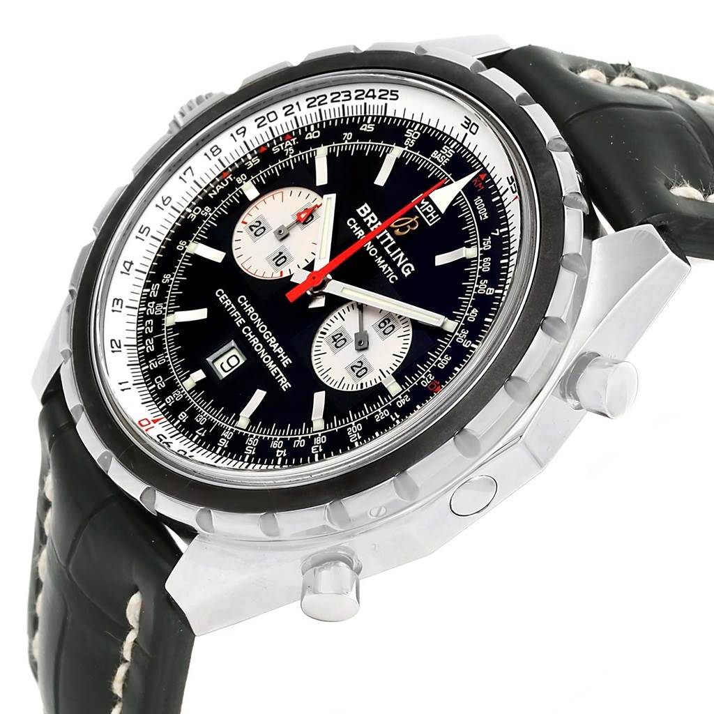 13376 Breitling Chronomatic Chronograph Left Crown Mens Watch A41360 SwissWatchExpo