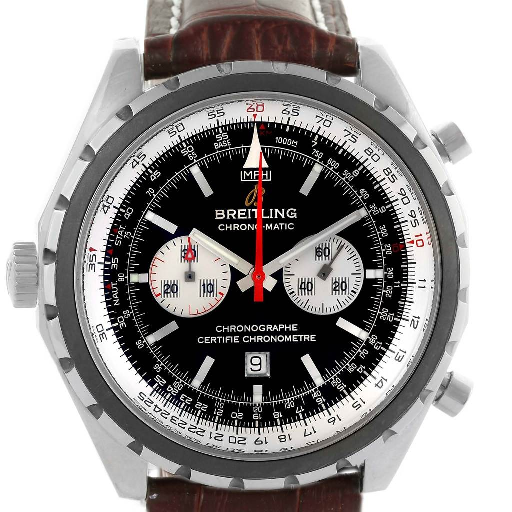 Breitling Chronomatic Left Crown Steel Mens Watch A41360 Box Papers SwissWatchExpo