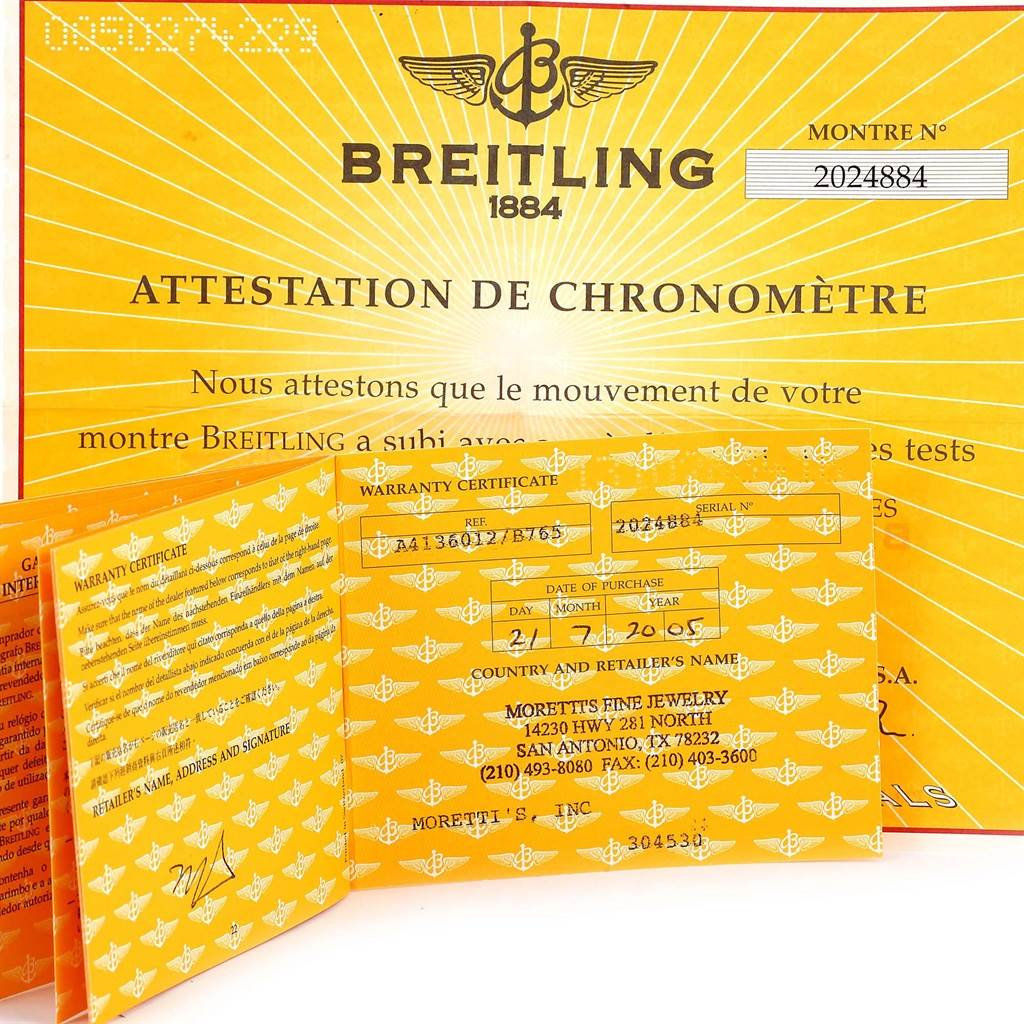 13308 Breitling Chronomatic Left Crown Steel Mens Watch A41360 Box Papers SwissWatchExpo