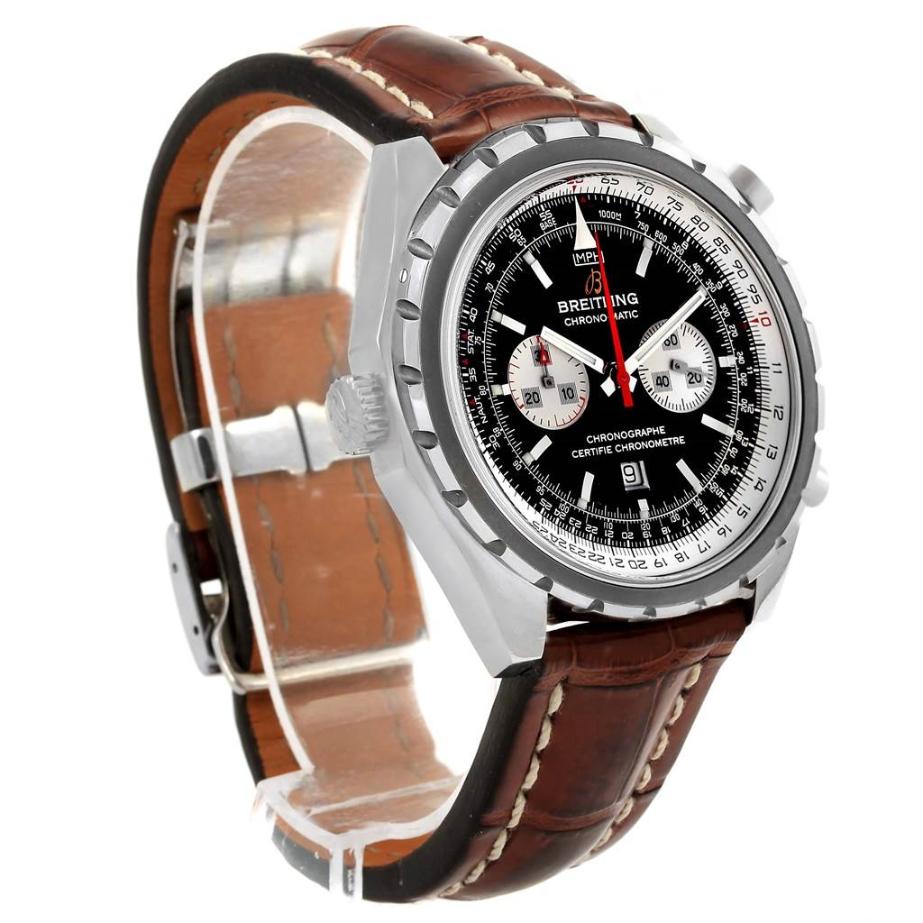 10744A Breitling Chronomatic Left Crown Brown Strap Watch A41360 Box Papers SwissWatchExpo