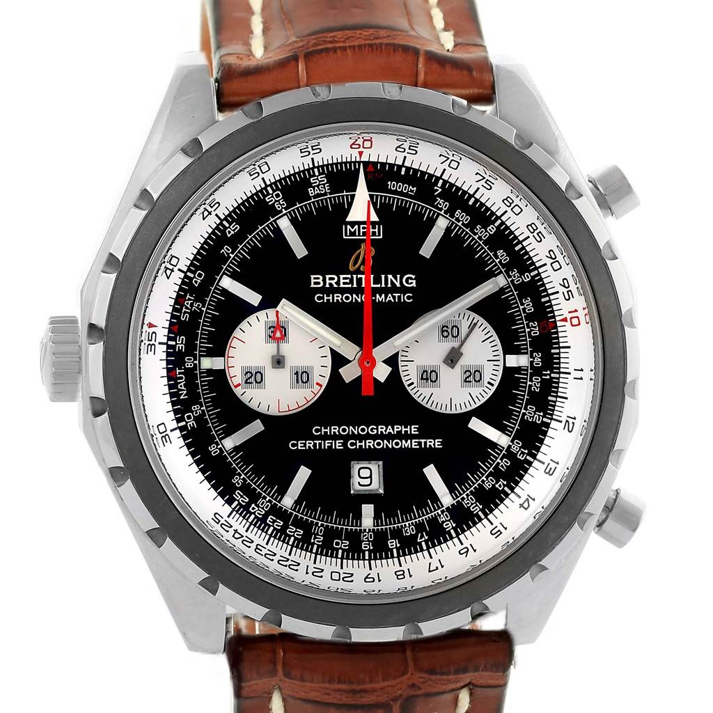 Breitling Chronomatic Left Crown Brown Strap Watch A41360 Box Papers SwissWatchExpo