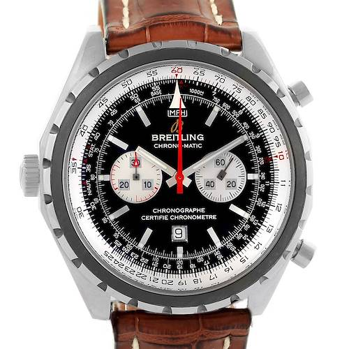 Photo of Breitling Chronomatic Left Crown Brown Strap Watch A41360 Box Papers