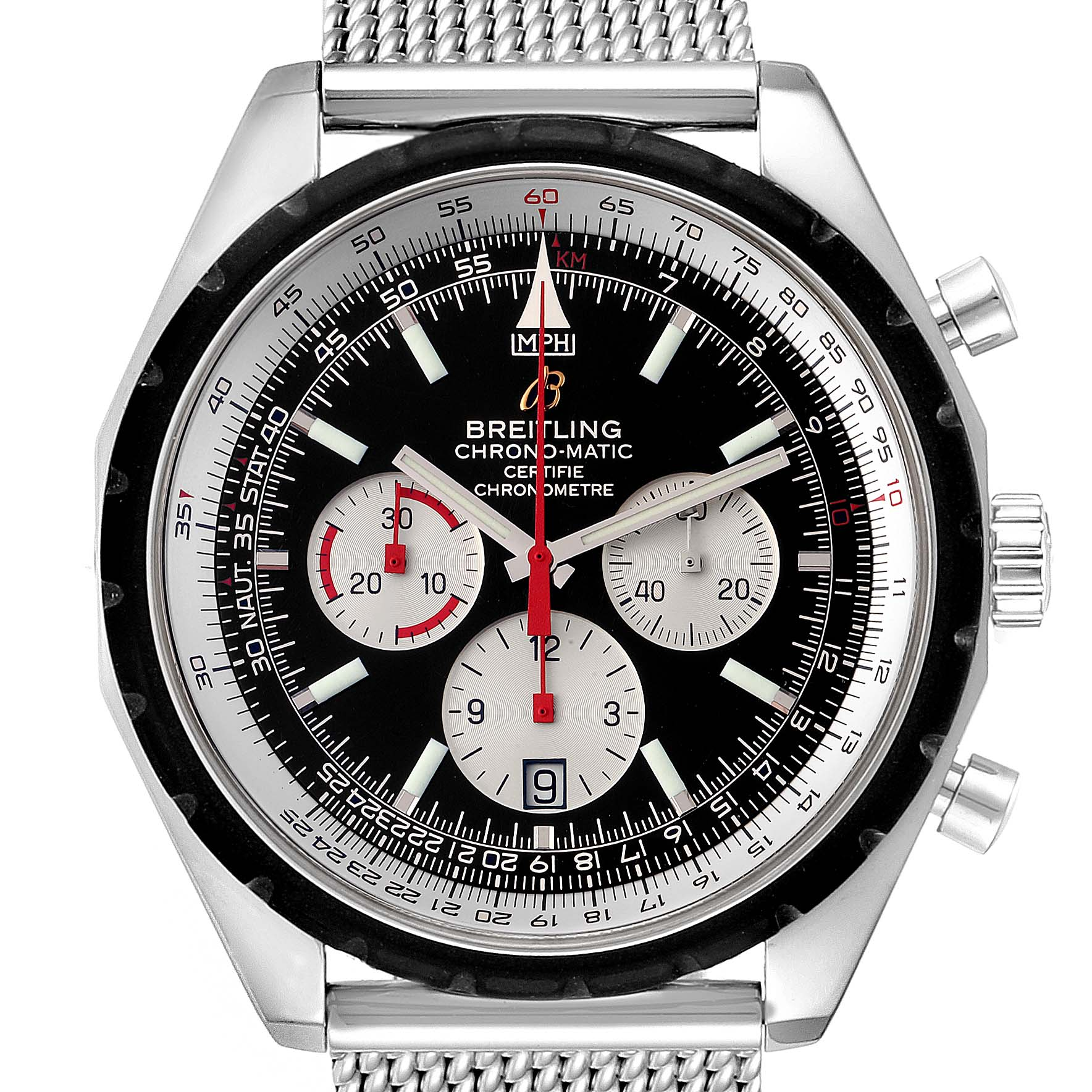 Breitling Chronomatic Chronograph Steel Mens Watch A41360 SwissWatchExpo