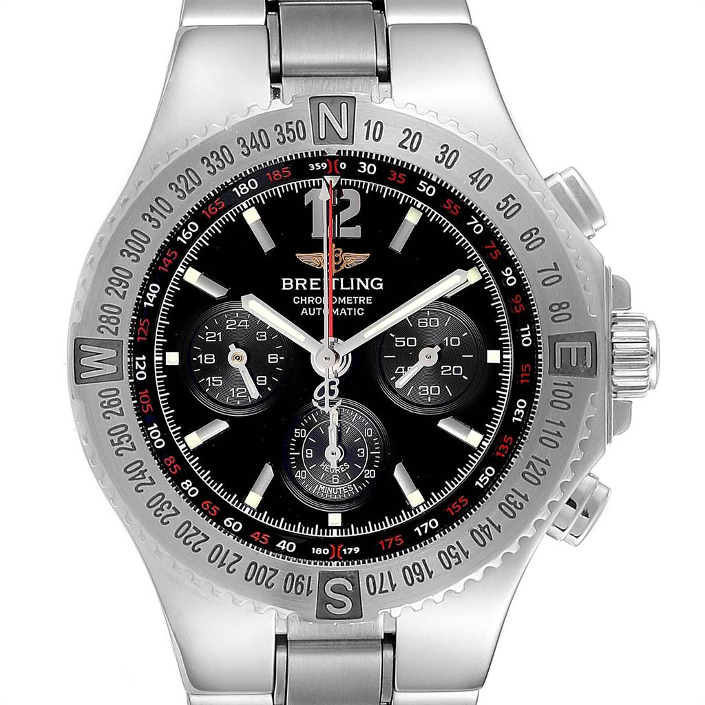 Breitling Hercules Black Dial Chronograph Steel Mens Watch A39362 SwissWatchExpo