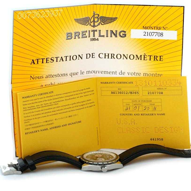 Breitling Chronomatic Steel Mens Watch A41360 SwissWatchExpo