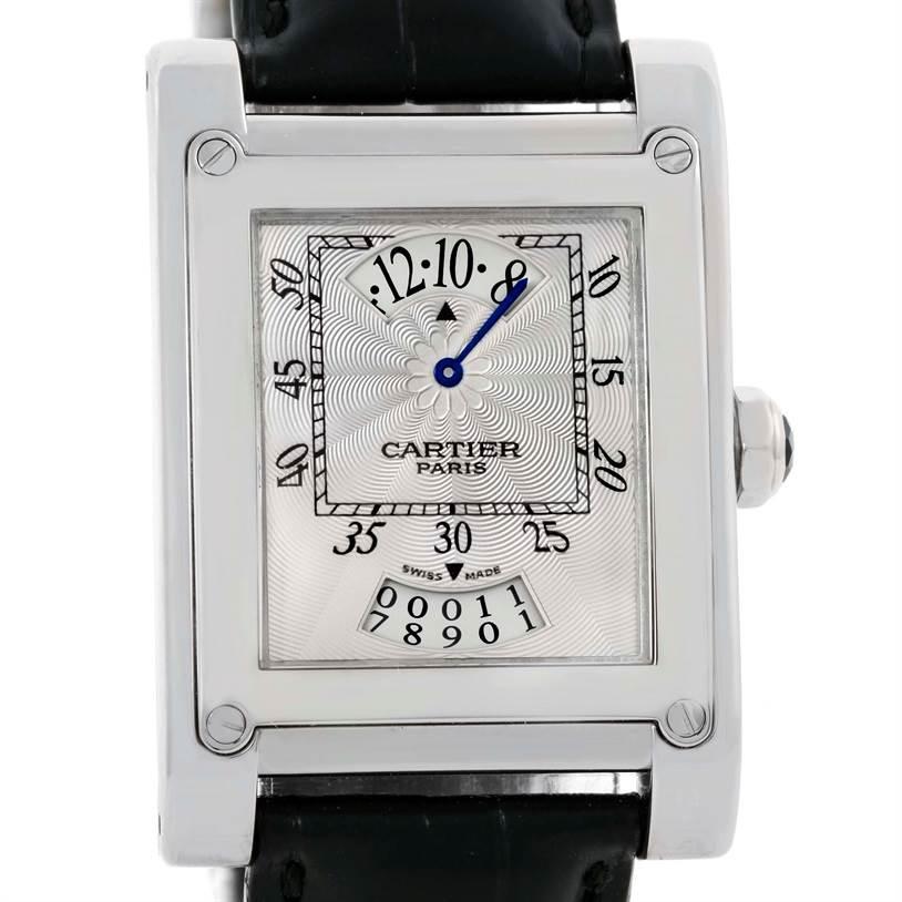 10054P Cartier Tank A Vis Jumping Hour Paris Privee White Gold Watch W1533451 SwissWatchExpo