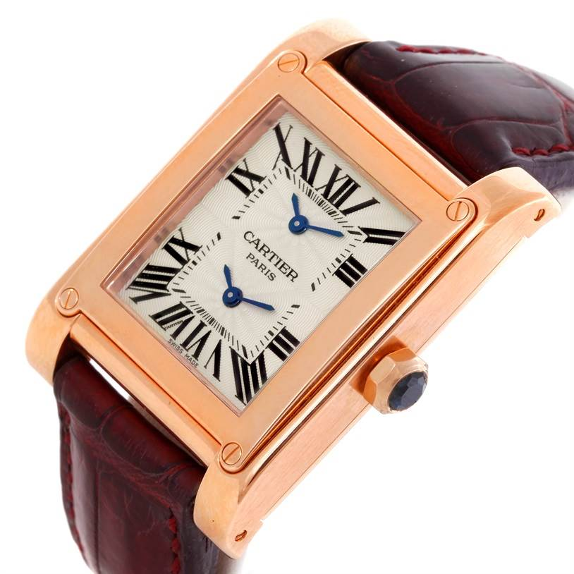 8997P Cartier Tank A Vis Dual Time 18K Rose Gold Watch W1537651 SwissWatchExpo