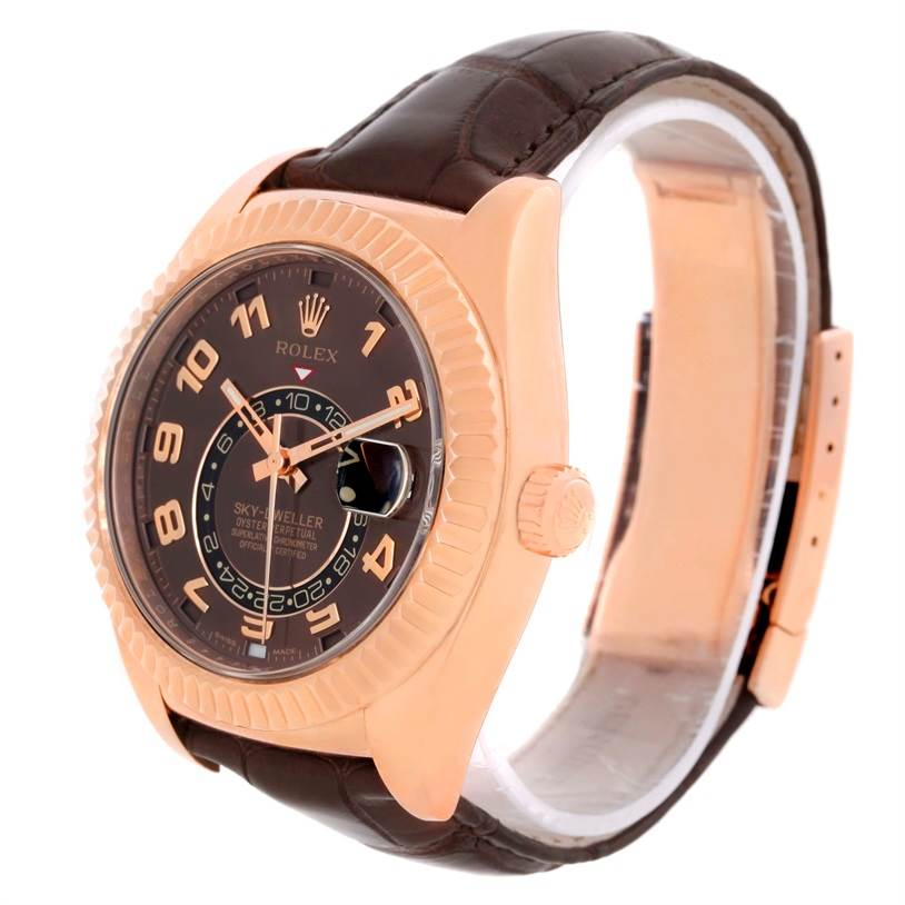 10137P Rolex Sky-Dweller Everose Chocolate Brown Rose Gold Mens Watch 326135 SwissWatchExpo