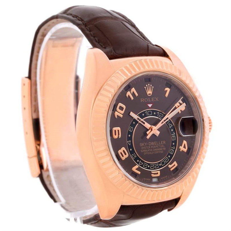 Rolex Sky-Dweller Everose Chocolate Brown Rose Gold Mens Watch 326135 SwissWatchExpo