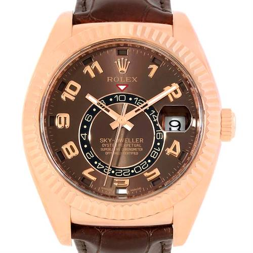 Photo of Rolex Sky-Dweller Everose Chocolate Brown Rose Gold Mens Watch 326135
