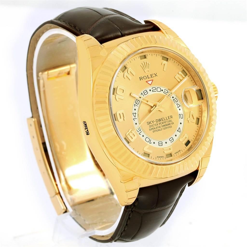 Rolex Sky Dweller Yellow Gold Champagne Dial Mens Watch 326138 Unworn SwissWatchExpo