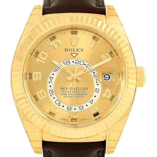Photo of Rolex Sky Dweller Yellow Gold Champagne Dial Mens Watch 326138 Unworn