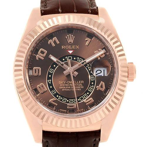 Photo of Rolex Sky-Dweller Chocolate Brown Everose Gold Mens Watch 326135 Unworn