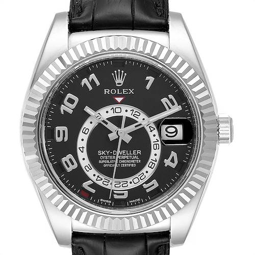 Photo of Rolex Sky Dweller 18k White Gold Black Dial Mens Watch 326139 Box Card