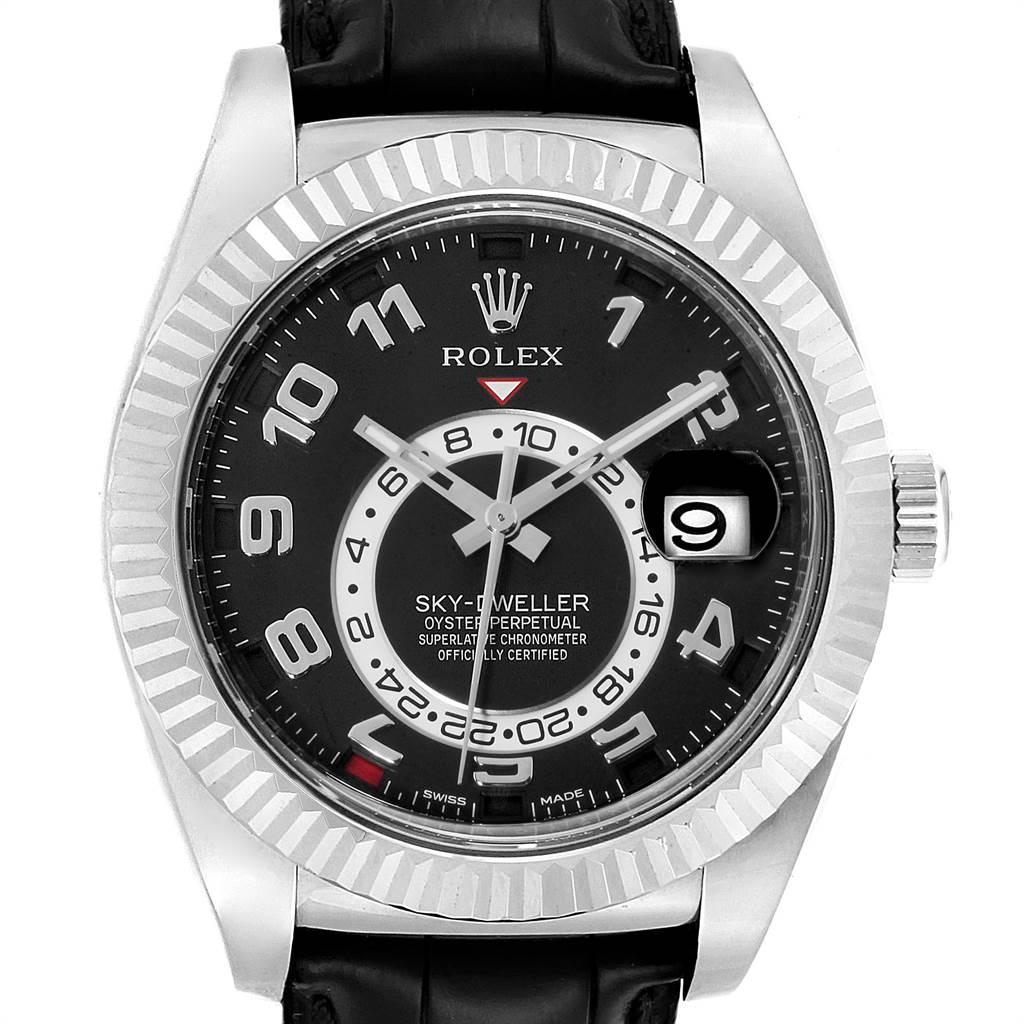 Rolex Sky,Dweller White Gold Black Dial Mens Watch 326139 Box Card