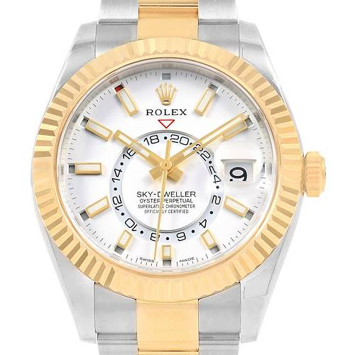 Photo of Rolex Sky Dweller Yellow Gold Steel White Dial Mens Watch 326933 Unworn