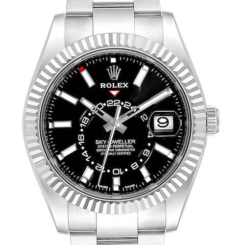 Photo of Rolex Sky Dweller Black Dial Steel White Gold Mens Watch 326934 Unworn
