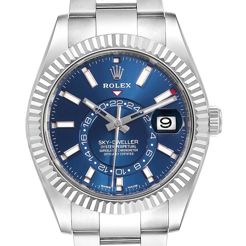 Rolex Sky Dweller Blue Dial Steel White Gold Mens Watch 326934 SwissWatchExpo