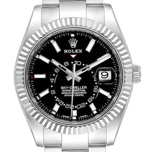 Photo of Rolex Sky-Dweller Black Dial Steel White Gold Mens Watch 326934 Unworn