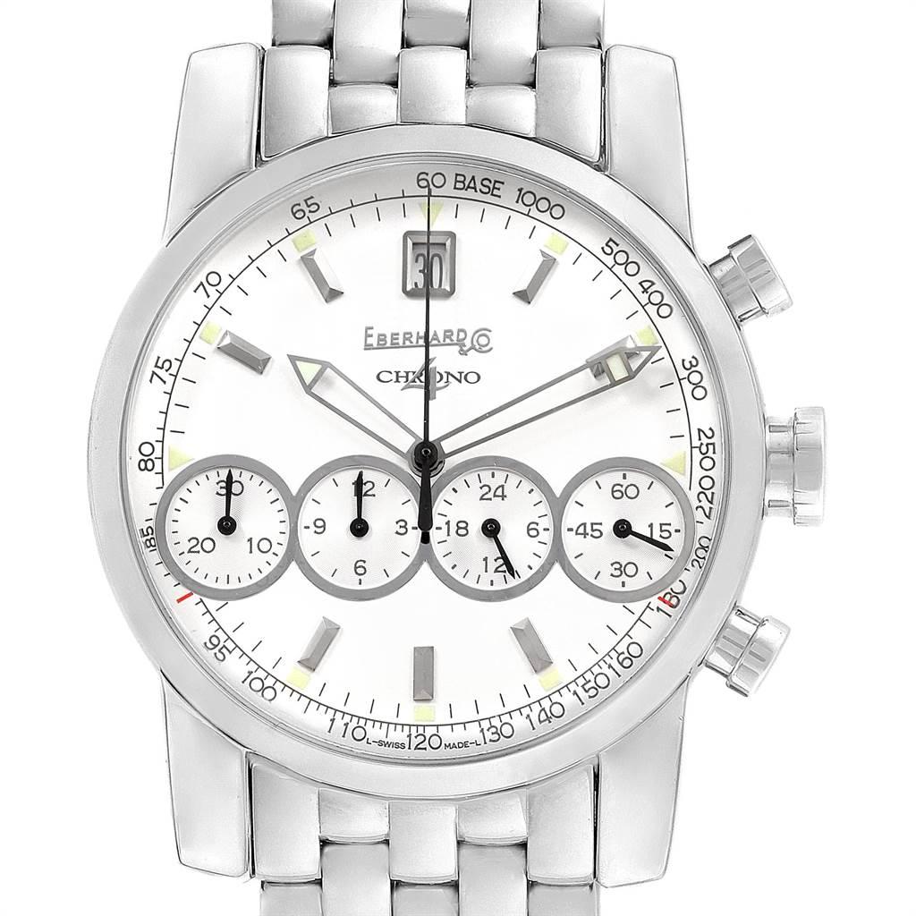 9933 Eberhard Chrono 4 Steel Chronograph Automatic Mens Watch 31041 SwissWatchExpo
