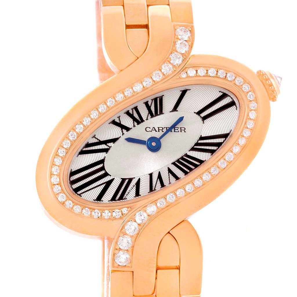 10476P Cartier Delices Small 18K Rose Gold Diamond Watch WG800003 SwissWatchExpo