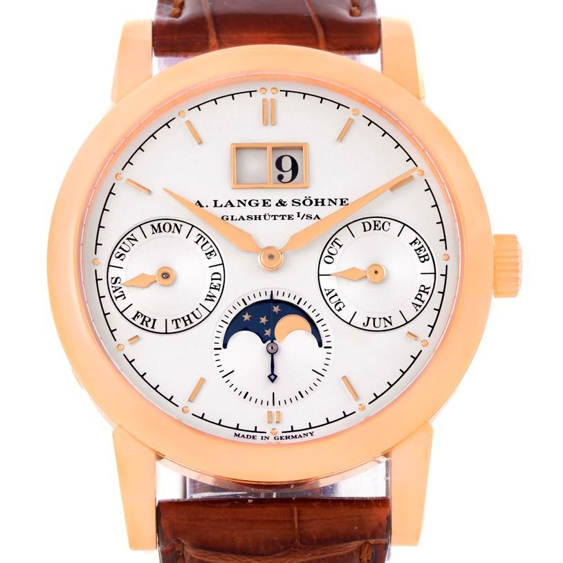 A. Lange Sohne Saxonia Annual Calendar 38.5mm Rose Gold Watch 330.032 SwissWatchExpo