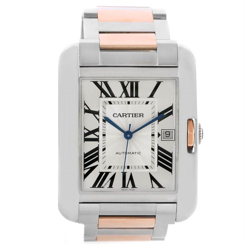 11732 Cartier Tank Anglaise XL Steel Rose Gold Automatic Mens Watch W5310006 SwissWatchExpo