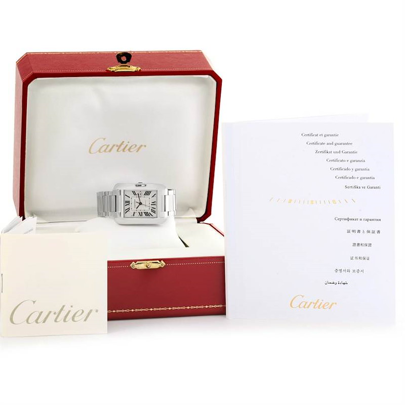 Cartier Tank Anglaise Stainless Steel Automatic Mens Watch W5310009 SwissWatchExpo