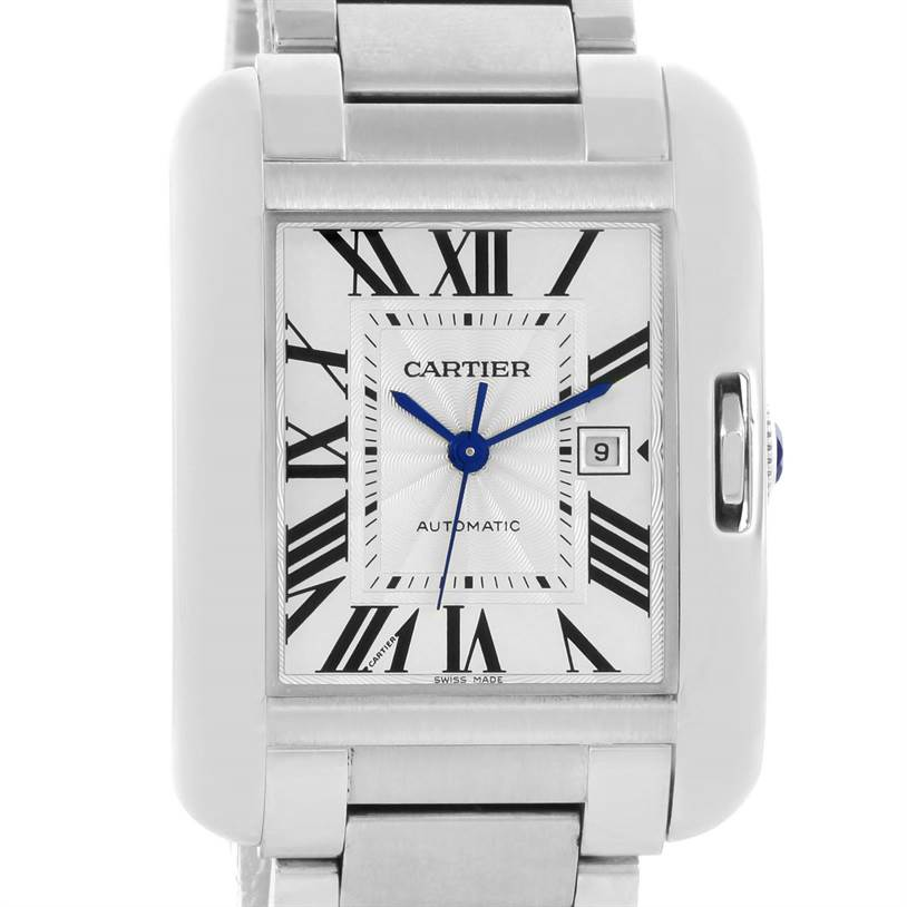 12451 Cartier Tank Anglaise Stainless Steel Automatic Mens Watch W5310009 SwissWatchExpo