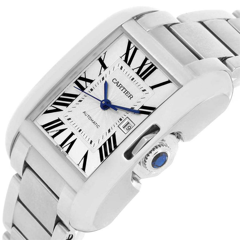 13599 Cartier Tank Anglaise Steel Automatic Mens Watch W5310009 Unworn SwissWatchExpo