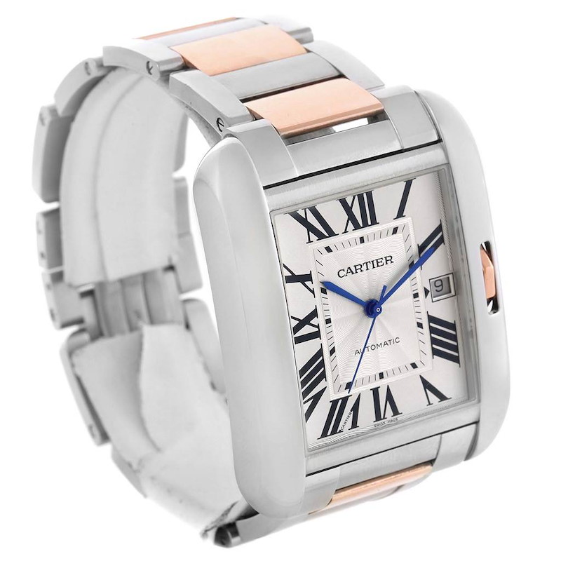 Cartier Tank Anglaise XL Steel Rose Gold Automatic Mens Watch W5310006 SwissWatchExpo