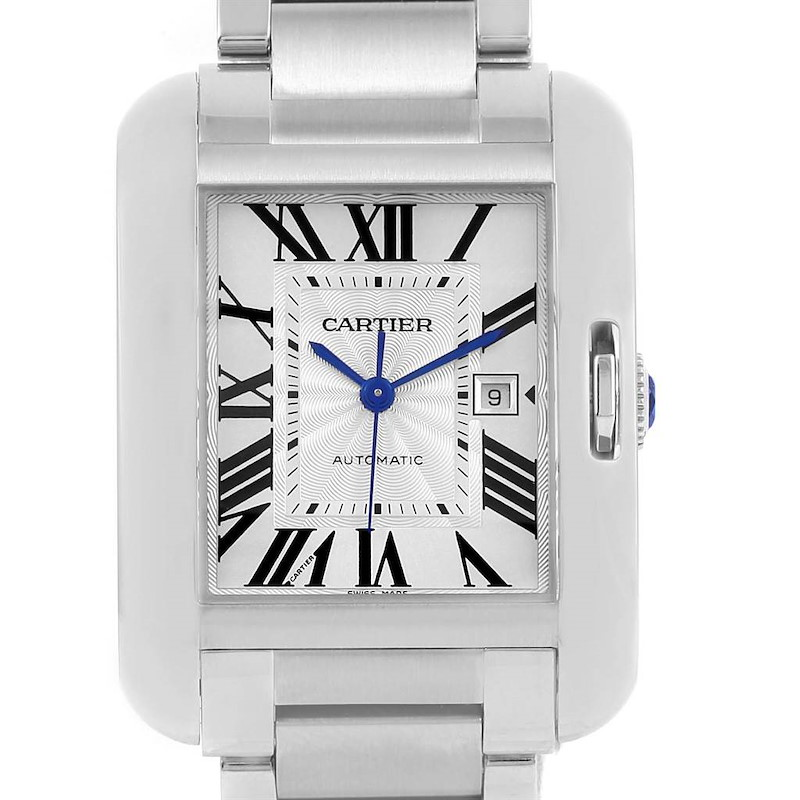 Cartier Tank Anglaise Steel Automatic Large Mens Watch W5310009 SwissWatchExpo