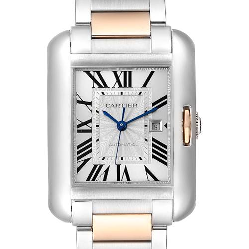 Photo of Cartier Tank Anglaise Large Steel Rose Gold Watch W5310007 Box Papers