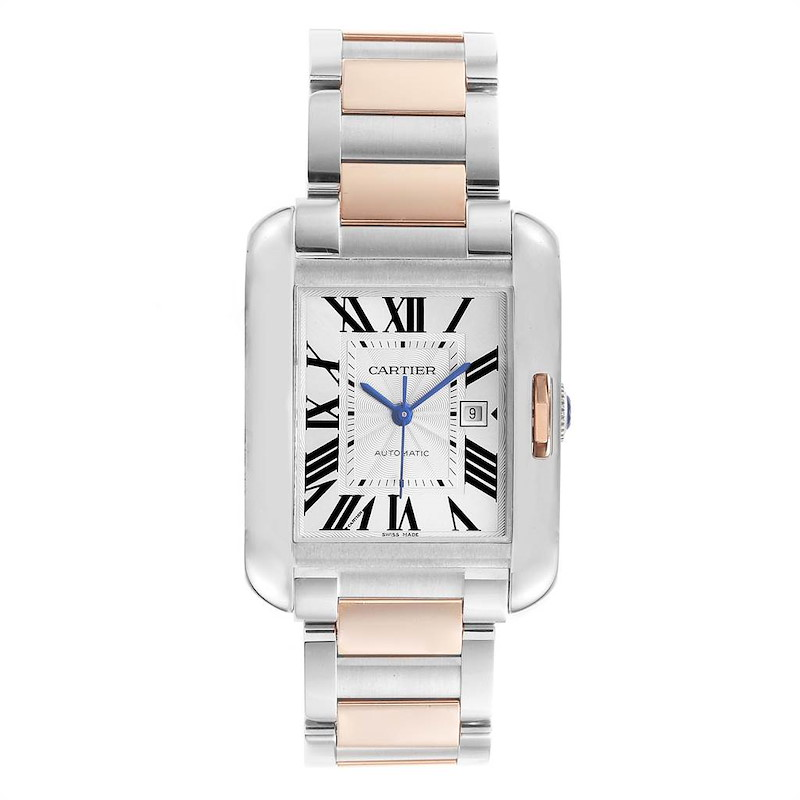 Cartier Tank Anglaise Large Steel Rose Gold Watch W5310007 Unworn SwissWatchExpo