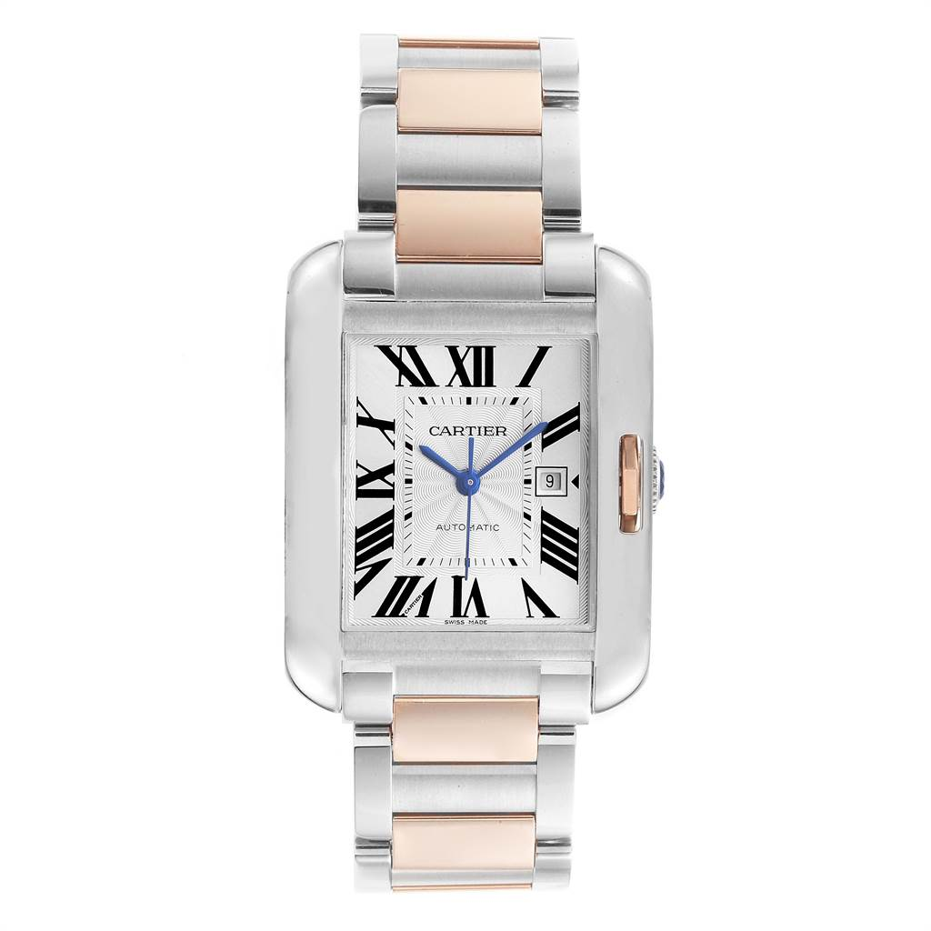 23006 Cartier Tank Anglaise Large Steel 18K Rose Gold Watch W5310007 Box SwissWatchExpo